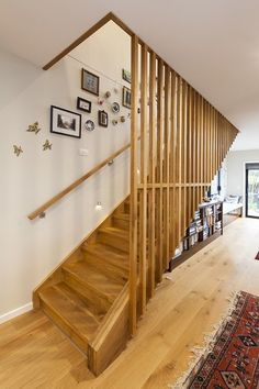 A rustic but timeless timber staircase and screen balustrade in European Oak that brings warmth and texture to this Christchurch home. Wooden Staircase Railing, Staircase Handrail, Oak Stairs, House Stairs, Staircase Design, Stairs Upgrade, Stair Paneling, Balustrades, Staircase Makeover