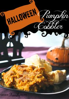 This Pumpkin Cobbler, made with cake mix, has become our traditional Halloween dessert. It's kind of like an upside down pumpkin pie, but I like it even better. It's easy and delicious!