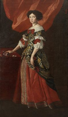 Pier Francesco Cittadini (1616-1681)  — Portrait of a Lady, Full-length, in a Red and Gold Brocade Dress (750×1285)