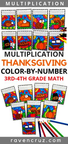 These multiplication color by number worksheets are a fun way to celebrate Thanksgiving and practice multiplication fluency. The multiplication facts range from and the worksheets are recommended four third-grade and fourth-grade. 3rd Grade Math Worksheets, Number Worksheets, Third Grade Math, Fourth Grade, Math Resources, Math Activities, Math Games, Thanksgiving Math, Thanksgiving Worksheets