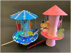 制作したメリーゴーランドは、水族館と動物園です。基本的な仕掛けが完成すれば、あとは何を作ろうか、何を飾ろうか考えて、お皿の上に作っていくだけ!糸で吊ったお魚や動物たちがくるくる回ります。作るのが難しかったら、何か乗せて回すだけでも楽しいですよ! Paper Crafts For Kids, Preschool Crafts, Diy For Kids, Diy And Crafts, Diy Toys And Games, Toys From Trash, Circus Crafts, Japan Crafts, Art Drawings For Kids