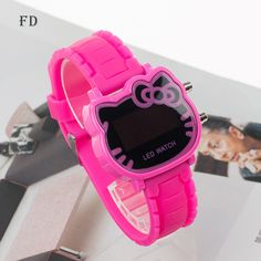 FD Fashion Pink Hello Kitty LED Watch Casual Rubber Strap 2017 Girls Kids  Wristwatch Women Clock 390c65d466