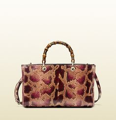 "soft pink and burgundy python light fine gold hardware natural cotton linen lining note that python products may not be shipped to California medium size: 13.5""W x 8.5""H x 6""D Made in Italy double bamboo handles with 4.5"" drop detachable and adjustable leather shoulder strap with 19.5"" dro..."
