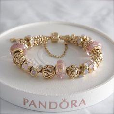 Gold, Pink and Cream Charms - Pandora Pandora Gold, Pandora Beads, Pandora Bracelet Charms, Pandora Jewelry, Cute Jewelry, Charm Jewelry, Accesorios Casual, Bracelet Designs, Fashion Bracelets
