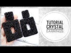 #МК - Прямоугольные серьги из хрусталя | #Tutorial - Rectangular earrings made of crystal - YouTube Simple Bead Earrings, Diy Earrings, Crystal Earrings, Dangle Earrings, Diamond Earrings, Retro Mode, Beaded Earrings Patterns, Handmade Beaded Jewelry, Earrings Handmade