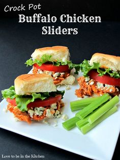 Crock Pot Buffalo Chicken Sliders- An easy and delicious appetizer or main dish!