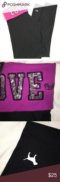 VS PINK leggings NEW WITH TAGS / black purple with sequins PINK Victoria's Secret Pants Leggings