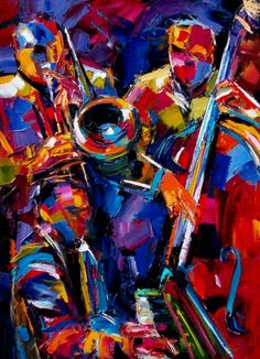 "Daily Painters Abstract Gallery: Abstract Jazz Painting Music Art Bass Trumpet Paintings ""Jumpin"" By Debra Hurd Jazz Painting, Guitar Painting, Musik Illustration, Jazz Poster, Jazz Art, Music Artwork, Daily Painters, African American Art, Dope Art"