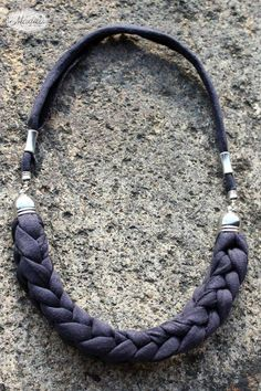 Black necklace handmade with love and tshirt yarn / trapillo recycled material https://www.etsy.com/uk/listing/202183961/kathy-necklace-by-madila-made-with-eco?ref=shop_home_active_17: