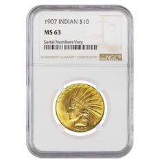 1907 $10 Indian Head Gold Eagle Coin NGC MS 63