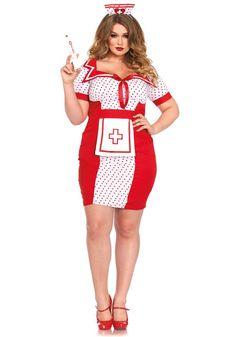 Plus Size HEAD NURSE Mini Dress COSTUME Headpiece ROLE PLAY 1x//2x 3x//4x