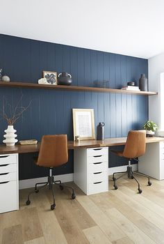 Basement Office, Home Office Setup, Home Office Space, Office Ideas, Office Inspo, Bedroom With Office, Home Office Paint Ideas, Teal Office, Blue Home Offices