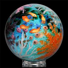 Giant reef, marble art glass, by Cathy Richardson Marble Art, Hood Ornaments, Glass Figurines, Glass Marbles, Kaleidoscopes, Glass Paperweights, Beauty Art, Glass Ball, Paper Weights