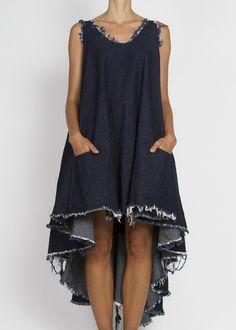 Draped, frayed denim dress