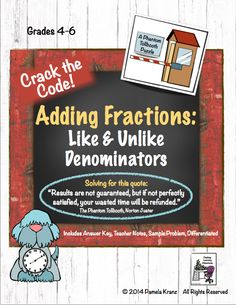Adding & Subtracting Fractions with like and unlike denominators. This self-correcting activity is a great addition to your math centers. Adding And Subtracting Fractions, Math Fractions, Maths, Math Resources, Math Activities, Puzzle Quotes, The Phantom Tollbooth, Math Classroom, Classroom Ideas