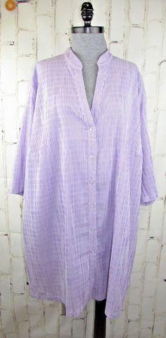 f2472960354 Details about Ulla Popken womens 3X 24 26 Tunic Shirt Lavender Purple  Seersucker Top