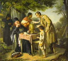 Tea Drinking-Vasily Perov (1834 – 1882, Russian)