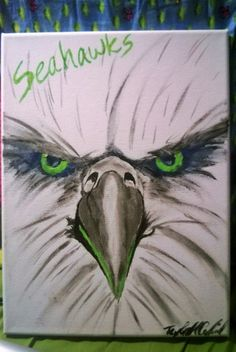 Seahawks painting by Taylorspalette on Etsy Diy Painting, Painting & Drawing, Watercolor Paintings, Nfl Seahawks, Seattle Seahawks, Nfl Seattle, Christmas Canvas, Paint Party, Rock Art