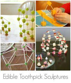 Toothpick Sculptures for Kids :: 13 Fun Toothpick Construction Ideas! Edible Toothpick Sculptures for Kids *love Craft Activities For Kids, Stem Activities, Diy Crafts For Kids, Projects For Kids, Art For Kids, Kids Fun, School Projects, School Ideas, Edible Crafts
