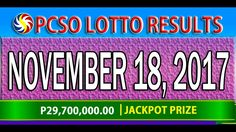 PCSO Lotto Results November 18, 2017 (6/55, 6/42, 6D, SWERTRES & EZ2 LOTTO) Lotto Results, Youtube, November 23, Youtubers, Youtube Movies