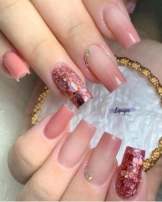 Manicure Nail Designs, Acrylic Nail Designs, Nail Manicure, Nail Art Designs, Acrylic Nails Coffin Short, Pink Acrylic Nails, Pink Nails, Fancy Nails, Trendy Nails