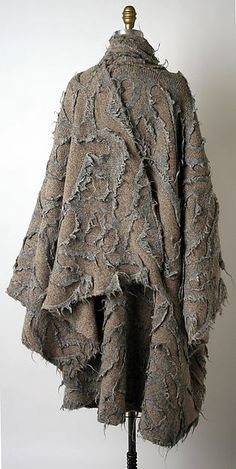 Issey Miyake for Miyake Design Studio F/W 1983 cape; Image 1 of The Met, anonymous gift, Accession Number: Dragon Girl, Maker Culture, Costume Institute, Issey Miyake, Wool Coat, Wool Blend, Cape, Kimono Top, Japanese