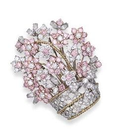 It's sad that this one doesn't have more contrast between the basket and the flowers so you could readily see which was which. Pink Diamond Flower Brooch