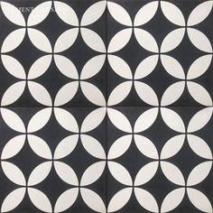 "Cement Tile Shop - Encaustic Cement Tile | Circulos Black - 12"" x 12"" (Large Format Cement Tiles) - In Stock"