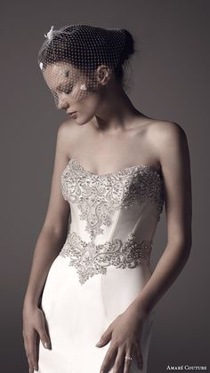 AMARE COUTURE ss 2016 strapless semi sweetheart neckline embellished bodice elegant modfied a line wedding dress illusion back court train (lilah) zv #bridal #embellished #wedding #weddingdress #sweetheart #engaged #romantic #neckline #weddinggown #amarecouture