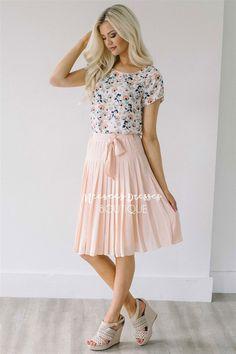 Pearl Peach Pleated Skirt Modest Skirt for Church   Modest Bridesmaids  Dresses   Modest Dresses and Skirts for Church 3782068802