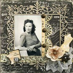 The Seamstress ~ Gorgeously heritage portrait page with a sewing theme. The photo is framed with a vintage tape measure and buttons and the corner is embellished with a dress form, ornate button and lace. - Wendy Schultz ~ Heritage & Vintage Pages. Scrapbook Examples, Scrapbook Page Layouts, Scrapbook Albums, Scrapbook Cards, Scrapbook Photos, Scrapbook Background, Scrapbooking Vintage, Scrapbooking Ideas, Heritage Scrapbook Pages