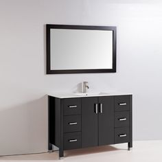 Legion Furniture WA3548 48-in Solid Wood Vanity with Sink, Mirror, and Faucet | ATG Stores