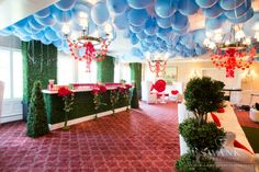 Cool Whimsical Theme Bat Mitzvah Party - Mad Hatter Red & Green Garden {Party by Swank Productions, Sean Smith Photography} - mazelmoments.com