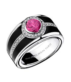 In black lacquer with a 1.03ct pink sapphire surrounded by pavé diamonds, Mauboussin's Bonbon Rose ring is also available with either a blue sapphire or black diamond
