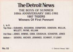 1981 Detroit News Detroit Tigers #53 1907 Tigers Back