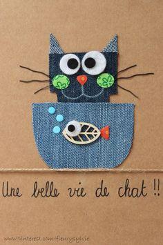 Une belle vie de chat ! #jeans #recycle  http://pinterest.com/fleurysylvie/mes-creas-la-collec/