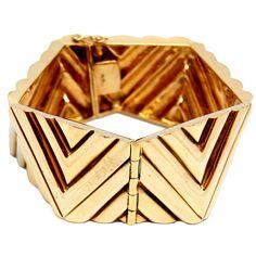 1970s 14K Gold Geometric Bracelet