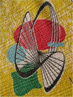 VINTAGE 1950s BARKCLOTH? COTTON CURTAIN FABRIC - ATOMIC / HELIX PRINT 136x116cms