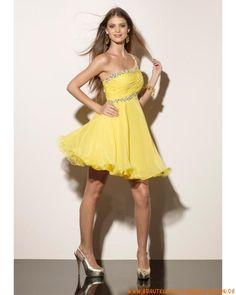 Kurzes elegantes Abendkleid aus Chiffon Einschulter