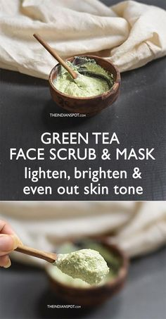 Green tea allows you some health flavor with plenty of benefits- both health and beauty! Green tea is good for health but did you know that it's also helpful in getting glowing skin? Green Tea Face, Coffee Face Scrub, Natural Hair Mask, Natural Face, Face Scrub Homemade, Diy Exfoliating Face Scrub, Homemade Moisturizer, Even Out Skin Tone, Skin Care Tips