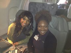 Jennifer Hudson (@IAmJHUD) and her friend are on a plain.
