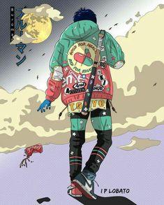 Akiresque mode, illustration by IP Lobato. - the site of Japan, Anime Art Manga, Art Anime, Character Concept, Character Art, Concept Art, All Out Anime, Art Cyberpunk, Cyberpunk Anime, Japon Illustration