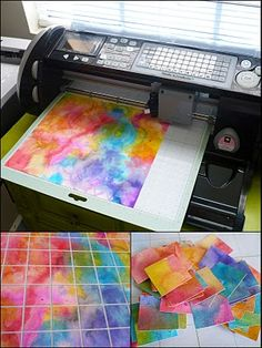 watercolor background paper: paint and cut out inchies with a Cricut (or just cut or tear up by hand)
