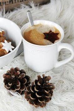 Cappuccino cut-out. I Love Coffee, Coffee Break, Best Coffee, Morning Coffee, Star Coffee, Coffee Cafe, Coffee Drinks, Christmas Coffee, Christmas Time