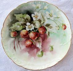 Antique Haviland France Limoges Plate Hand Painted Strawberries Blossoms Mint   eBay