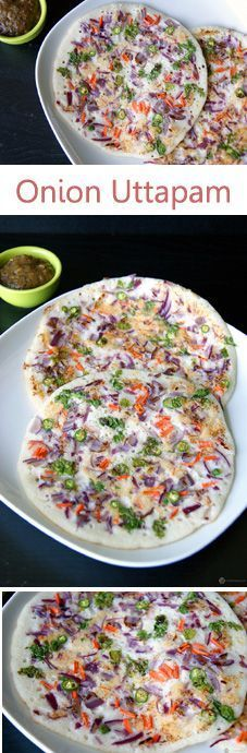 Onion Uttapam - A delicious and healthy South Indian breakfast. It is nothing but a variation of dosa, which is slightly thick like a pancake and topped with a lovely spread of onion and optionally ot (Vegan Gluten Free Pizza) Veg Recipes, Indian Food Recipes, Asian Recipes, Cooking Recipes, Sandwich Recipes, Apple Recipes, Cake Recipes, Indian Street Food, South Indian Food