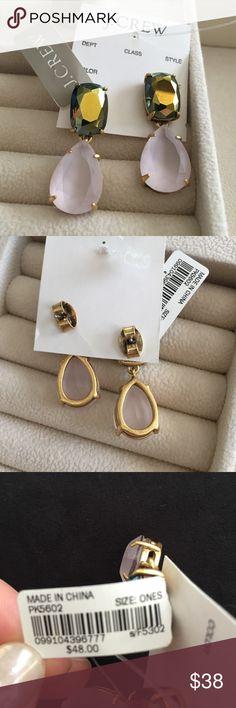 • J Crew • NWT J Crew 'Hazeline' earrings. Drop stud style. Gold hardware. Comes with original storage bag. J. Crew Jewelry Earrings