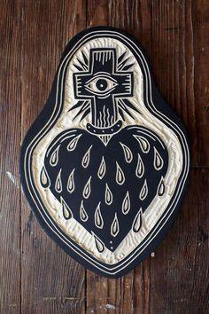 cross, eye, and tear heart, woodcut by bryan perrott