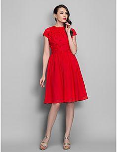 A-line Jewel Knee-length Chiffon Cocktail/Prom Dress (663701... – USD $ 99.99