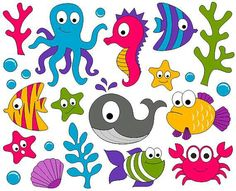 Under The Sea Clip Art - Ocean Digital ClipArt - Fishes, Whale, Crab, Seahorse… Scrapbook Kit, Scrapbooking, Art For Kids, Crafts For Kids, Sea Plants, Cute Fish, Ocean Themes, Elements Of Art, Baby Shark